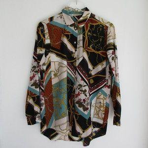 Zara Scarf Print Chain Print Shirt Blouse Top S